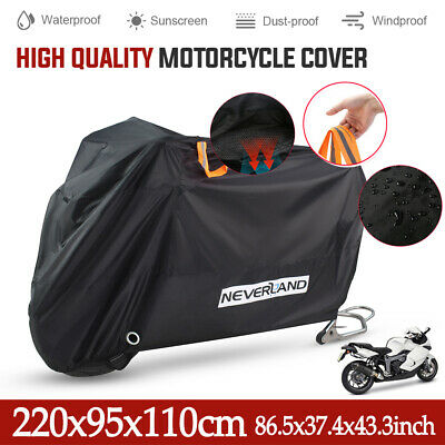 XL Large Heavy Duty Waterproof Motorcycle Motorbike Cover Outdoor Rain Protector