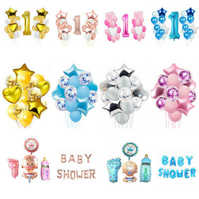 Baby Shower It's a Boy/Girl Foil Latex Balloons Christening Birthday Party Decor