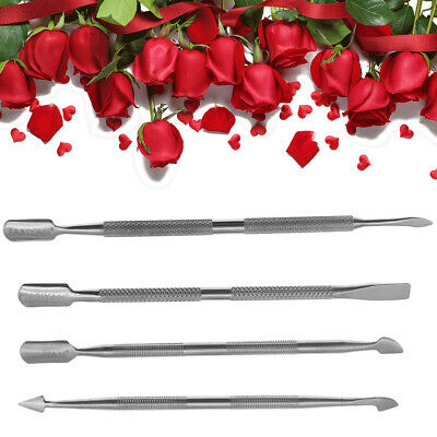 4Pcs Beauty Nail Care Cuticle Pusher Spoon Trimmer File Manicure Pedicure Tools