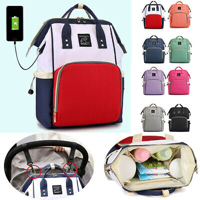 Multi-use Large Mummy Baby Diaper Nappy Backpack Mom USB Charging Bag UK M5P3T