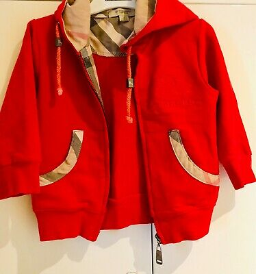 BURBERRY Size 2 Red Jacket (with hoodie) pre-loved