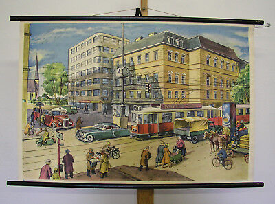 Sublime Tableau Intersection Bien Vienne Moto Auto Tram 98x66 ~1955 Vintage