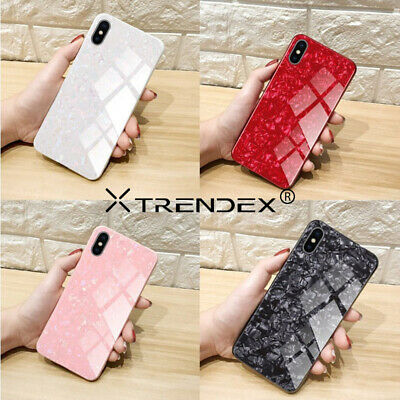For iPhone XS MAX XR X 8 7 6S Plus Luxury Marble Tempered Glass Back Cover Case