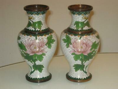 Stunning Mirrored Pair Of Antique Chinese Cloisonne Vases