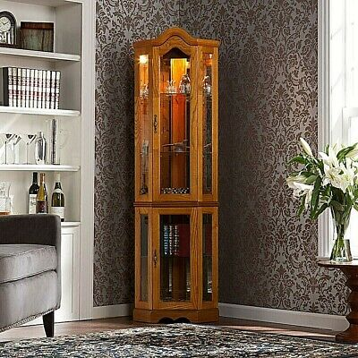 Corner Curio Cabinet, Lighted & Mirrored, Wood w/Glass Doors Display, Arched Top