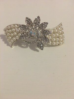 Crystal Hair Barrette Sparkly Peacock Face Pearl Silver Tone Gift Wedding Pin