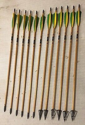 12PK HUNTING ARCHERY Wood Arrows 28~32