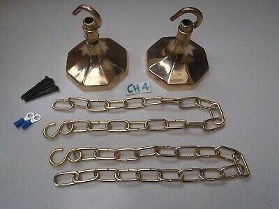 A MATCHED PAIR OF POLISHED CAST BRASS CEILING HOOKS/CHAIN / LIGHTING Ref (CH 4)