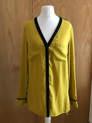 879f003bbb0829 Ladies H&M Mustard Yellow & Black V Neck Long Sleeved Blouse Top ...