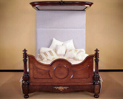 Antique 19th.c. Mahogany King Size Half Tester Double Bed c.1850.