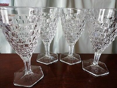 American Fostoria Water Goblet Glass Crystal Clear 6-7/8 T (4) Vintage