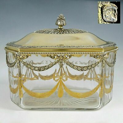 Antique French Sterling Silver Cut Crystal Tea Caddy, Table Box, Engraved Motif