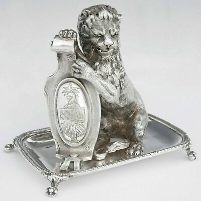 Rare Antique French Sterling Silver Toothpick Holder Lion Figure Coat of Arms