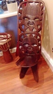 Antique / Vintage Hand Carved Tribal Wooden African Birthing Chair