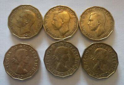 6 Brass iconic Thrupenny Coins (bits) 3 of George V1th and 3 of Elizabeth