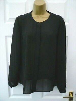 ST MICHAEL Vintage M&S Ladies Size 18 Black Smart Work Secretary Blouse Top