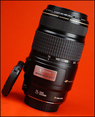 Canon EF 75-300mm IS USM F4-5.6 Image Stabilizer AF Zoom Lens Front & Rear Caps