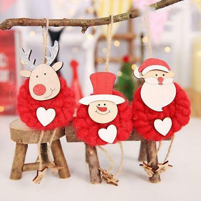 3PCS Lovely Christmas Party Hanging Decor Santa Claus Snowman Xmas Ornaments new