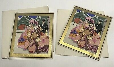 Estate Art Deco Pair French Pochoir Figures & Gifts Christmas Greeting Cards