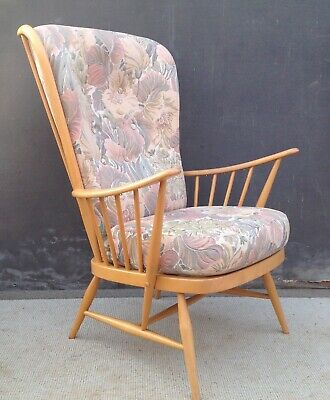 Ercol Evergreen high back Windsor type armchair 1913 blonde wood 2 available