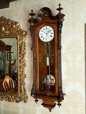 Antique Austrian Vienna regulator wall Clock Burl Burr walnut case.