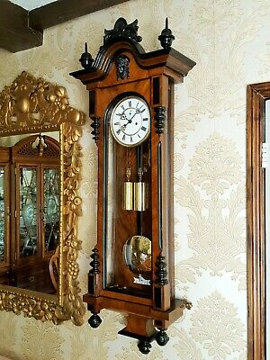 Antique 2 weight Vienna regulator wall Clock by H.Endler & Co