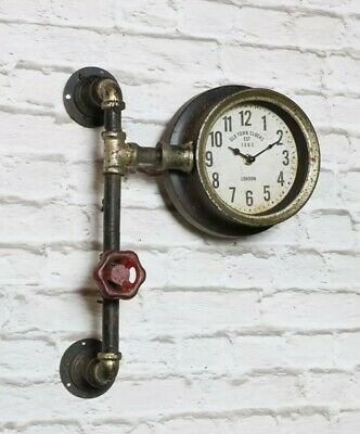 Industrial Retro Pipe Wall Clock Vintage Look Steampunk Metal Fittings