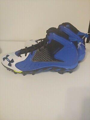 NEW Under Armour SPINE Clutchfit Football Cleats Men's Size 12 White Blue Black