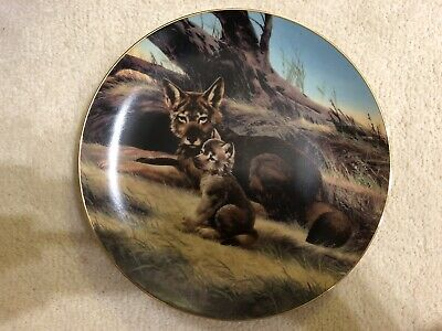 ❤️ 1989 Vintage RED WOLF Collector Plate