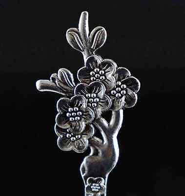 Collect China Decorate Tibet Silver Hand Carve Blooming Flower Delicate Hairpin