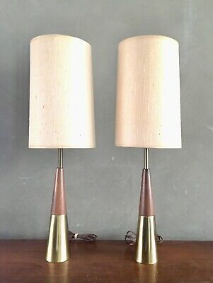 Pair of Vintage Mid Century Modern Brass Walnut Table Lamps Eames Atomic Era
