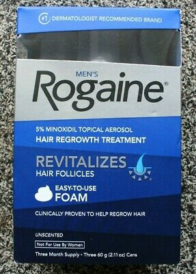 Mens Rogaine Foam Hair Regrowth Treatment 3 Month Supply Brand New EXP DEC/2020