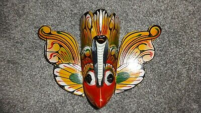 Exquisite Indonesian Hand Carved & Painted Barong Eagle Tribal Wooden Wall Mask!