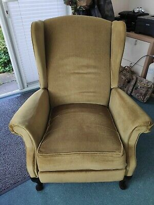 ANTIQUE Recliner Chair Wing Back Velour Armchair