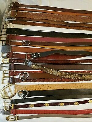 Lot Of 25  Mixed Leather Western Rodeo Belts Vintage & Contemporary Styles  B