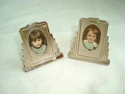 Pair of 2 French Art Deco Chrome Picture Frames