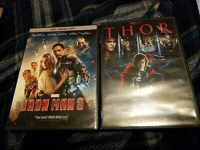 Iron Man 3 DVD & Thor Lot Amazing condition dvds AVENGERS Marvel