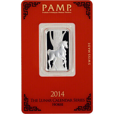 10 gram Silver Bar - PAMP Suisse - Lunar Year of the Horse - .999 Fine in Assay