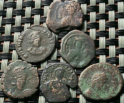 Lot Of 6 Ancient Roman And Byzantine Imperial Bronze Coins Rare Type