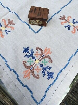 Antique Art & Crafts Style Hand Embroidered Flax Natural Linen Tablecloth 52X66""