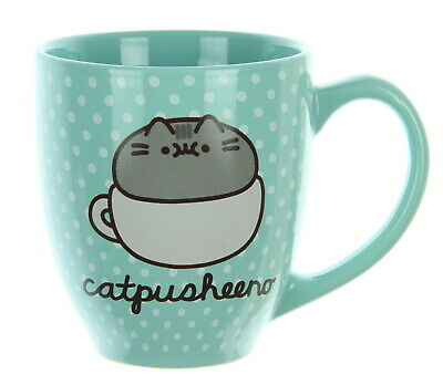 Pusheen Cat CatPusheeno Polka Dot Mug 18 oz Ceramic Coffee Cup