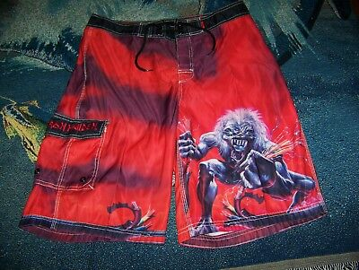 304b525842260 Vintage IRON MAIDEN A REAL LIVE ONE Dragonfly Trunks Surf Board Shorts 32 -  33