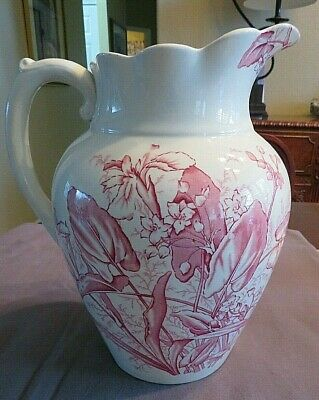 XL Vintage Red Transferware Ironstone Water Pitcher Jug C 1800 Staffordshire