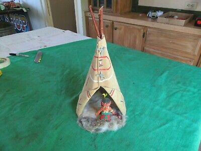 """Vintage Leather Teepee & Native American Indian Child Toy 14"""" Tall   Lot 19-42-3"""