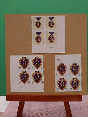 Lot of (3) Purple Hearts - Medal for the Combat Wounded - 12 Total Stamps