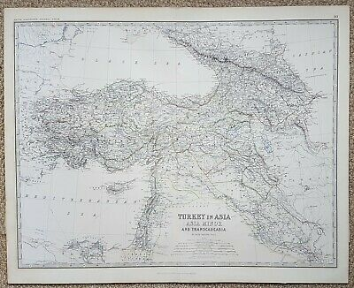 19th century coloured Map of Turkey Asia Minor.   by Keith Johnston