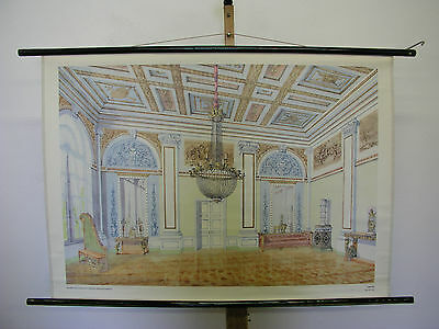 Schulwandbild Beautiful Old Map Empire Style Classicism 108x77 Vintage Map~1958