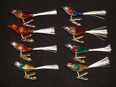 Set 8 Mercury Glass Clip On Birds Ornaments EXC