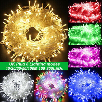 10-100M LED Fairy String Lights Indooor/Outdoor Christmas Wedding Party UK Plug