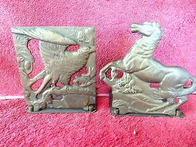 Antique  Pair  Pair  Brass  Fold  Down  Book  Ends